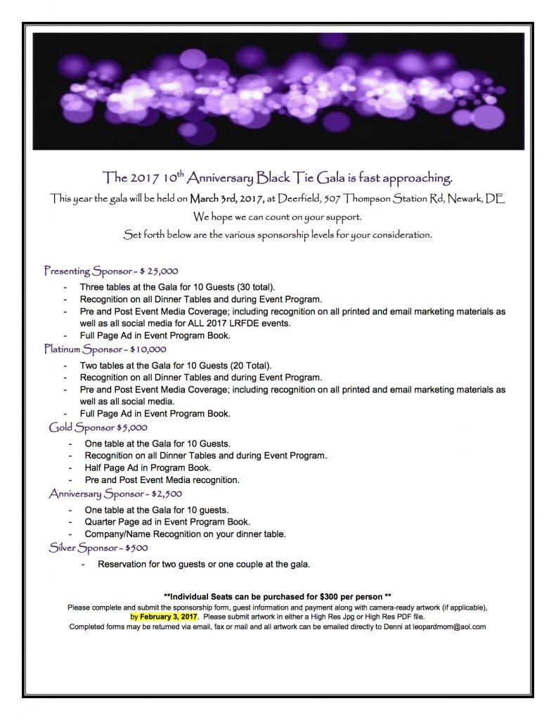 2017 Black Tie Gala Sponsorship Form